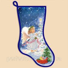 Схема для вышивки бисером Новогодний сапожок Ангел