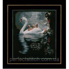 PN-0147904 Набор для вышивки крестом LanArte Swan with cygnets Лебедь с лебеденками