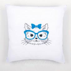 PN-0155965 Набор для вышивания гладью (подушка) Vervaco Кошка в синих очках