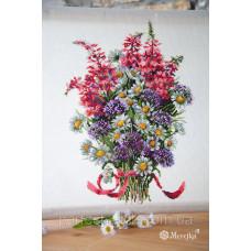 Набор для вышивания крестом Букет плевых цветов Мережка