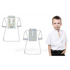 Заготовка для вышивки сорочки детской для мальчика короткий рукав 688-18/09  под вышивку схема 72/73