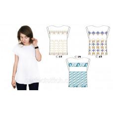 Заготовка для вышивки бисером блузки женской с треугольным вырезом (белая)схема 49, 58, 59