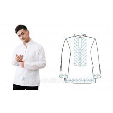 Заготовка для вышивки сорочки мужской домотканой, белая, длинный рукав,схема 9/10