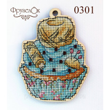 Набор для вышивки крестиком на деревянной основе Клубок