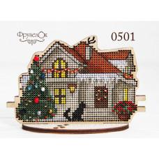 Набор для вышивки крестиком на деревянной основе Зимовий будинок