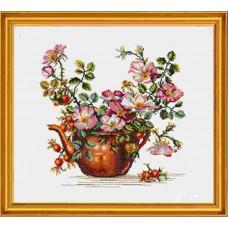 """12-278 Набор для вышивания """"Чайник с розами (Teapot with roses)"""" Eva Rosenstand"""