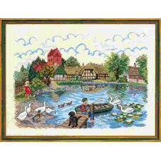 """12-729  Набор для вышивания """"Деревенский пруд (Village pond)"""" Eva Rosenstand"""