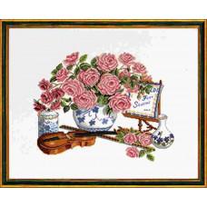 """14-103  Набор для вышивания """"Розы и скрипка (Roses & fiddle)"""" Eva Rosenstand"""